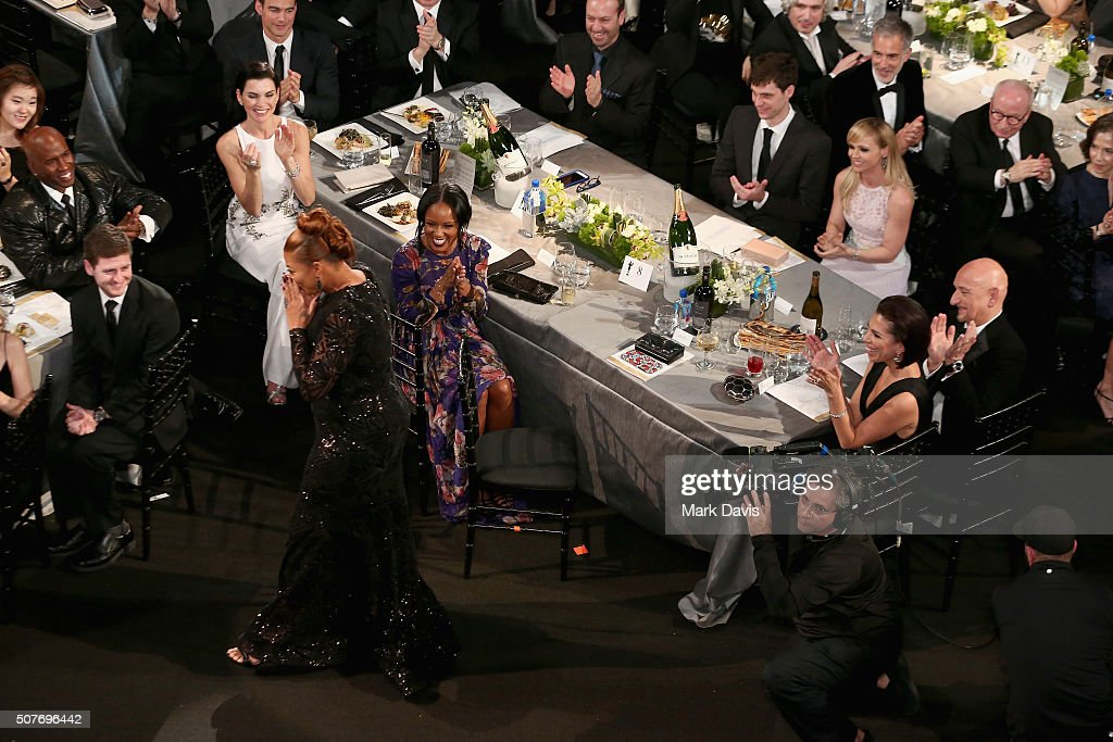 Queen Latifah stands to accept the award for Oustanding Performance by a Female Actor in a Television Movie or Miniseries for 'Bessie' during The...