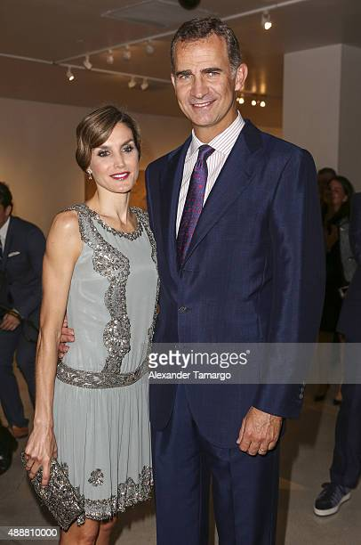 Queen Letitia of Spain and King Felipe VI of Spain are seen at the MiamiDade College Presidential Medal presentation at the Freedom Tower on...