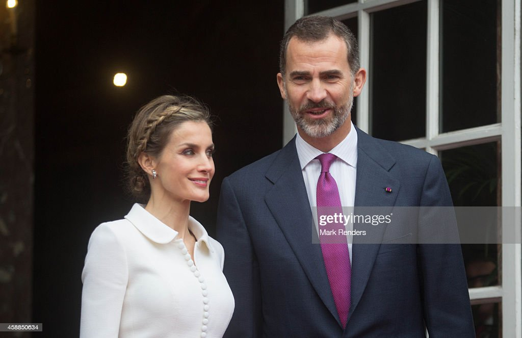 Queen Letizia and King Felipe of Spain during a Spanish State visit at the Egmond Palace on November 12 2014 in Brussel Belgium