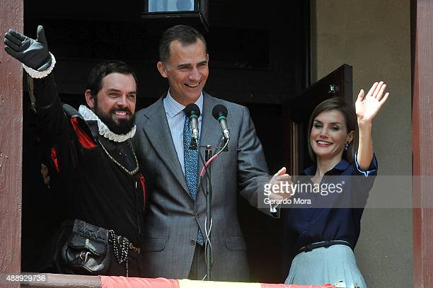 Queen Letizia and King Felipe VI of Spain greet people during the 450th Saint Agustine anniversary at the Government House on September 18 2015 in St...