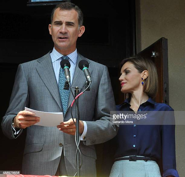Queen Letizia and King Felipe VI of Spain visit the Government House during the 450th Saint Agustine anniversary on September 18 2015 in St Augustine...