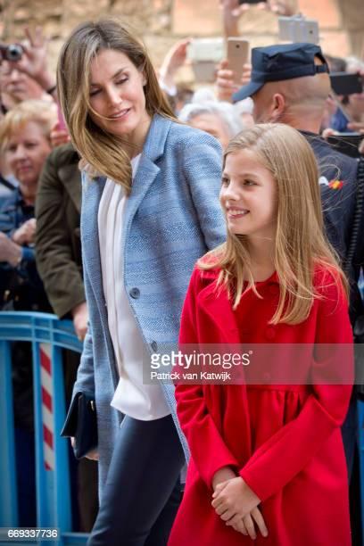 Queen Letizia and Princess Sofia attend the easter mass on April 16 2017 in Palma de Mallorca Spain