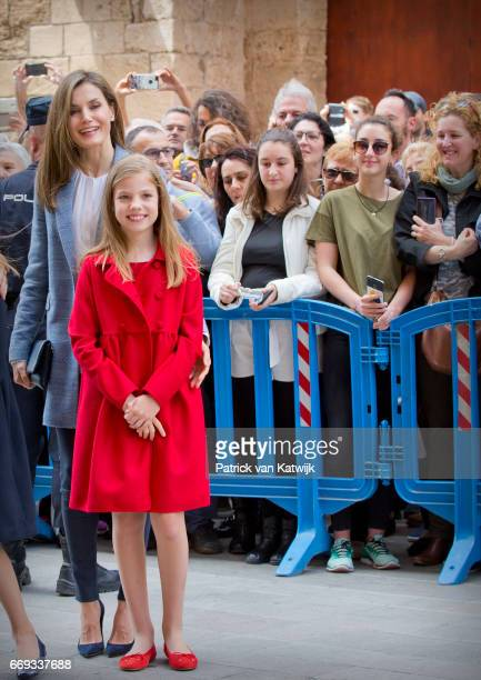 Queen Letizia and Princess Sofia of Spain attend the easter mass on April 16 2017 in Palma de Mallorca Spain