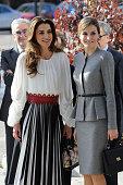 Queen Letizia and Queen Rania attend Molecular Biology Center 'Severo Ochoa' at Autonoma University on November 20 2015 in Madrid Spain