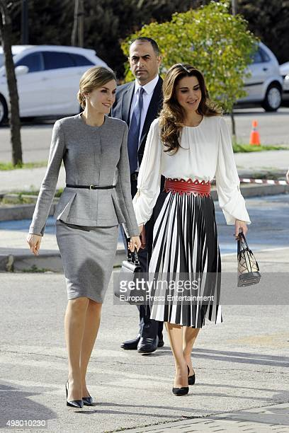 Queen Letizia and Queen Rania attend Molecular Biology Center 'Severo Ochoa' at Autonoma University on November 20 2015 in Madrid Spain