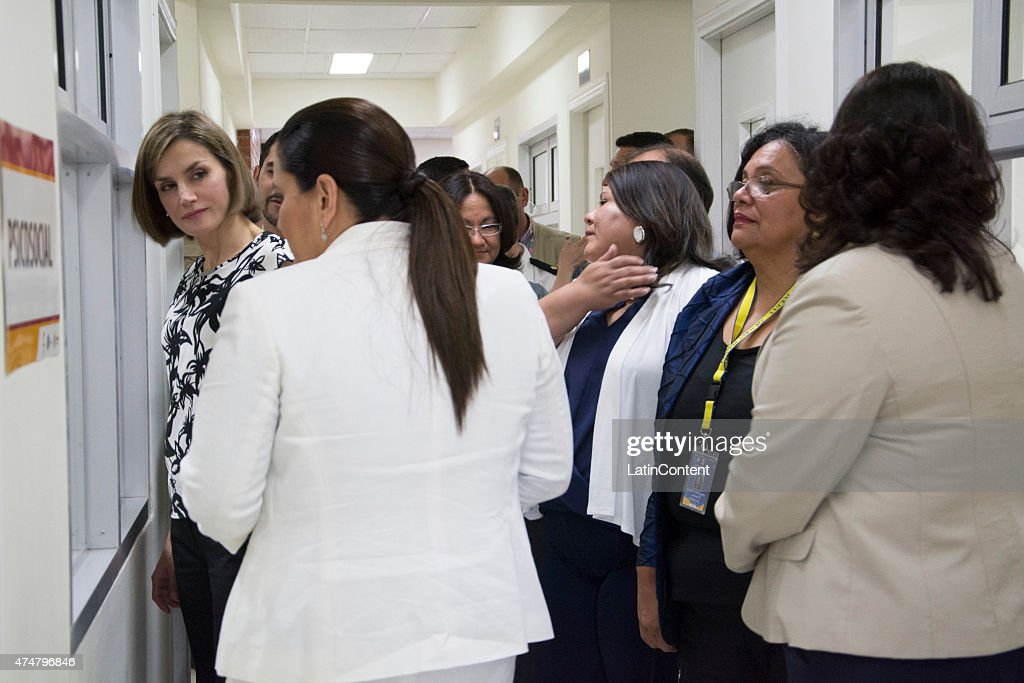 Queen Letizia (left) is accompanied by Honduran authorities, during a visit to the Universidad Nacional Autonoma, on May 26, 2015 in Tegucigalpa Honduras. Queen Letizia started a two-day visit to Honduras to supervise Spanish cooperation programs in the country.
