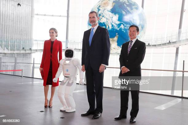 Queen Letizia King Felipe VI and Mamoru Mori Chief Executive Director pose for photos during their visit to the National Museum of Emerging Science...
