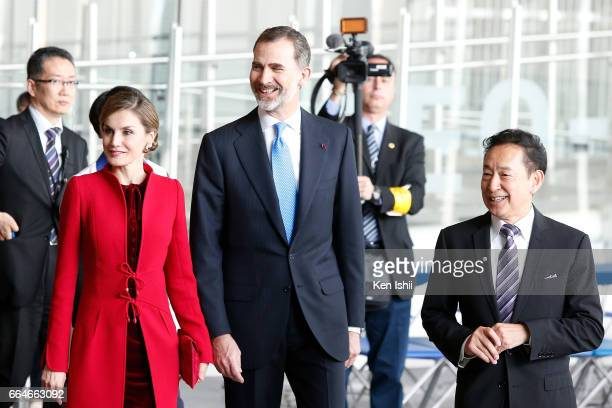 Queen Letizia King Felipe VI and Mamoru Mori Chief Executive Director arrive during their visit to the National Museum of Emerging Science and...
