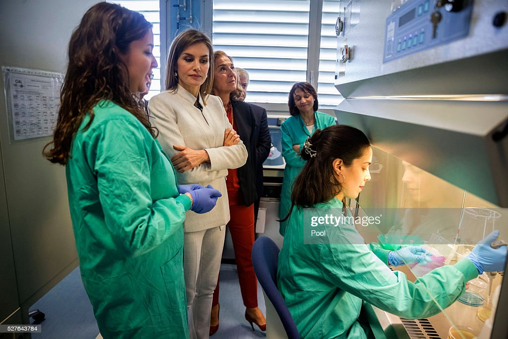 Queen Letizia of Spain, accompanied by Secretary of State of Investigation, Development and Innovation Carmen Vela (3rd L) , during a visit to the Institute of Food Science Research (CIAL) on May 3, 2016 in Madrid, Spain.