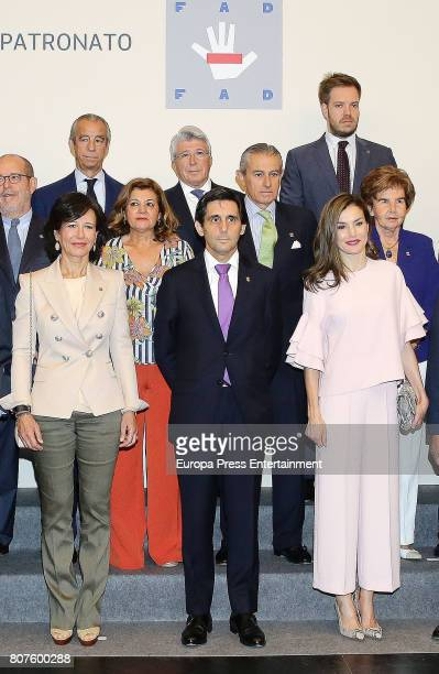 Queen Letizia of Spain Ana Patricia Botin Asis Martin de Cabiedes and Jose Maria AlvarezPallete attend Foundation Against Drugs at Telefonica...