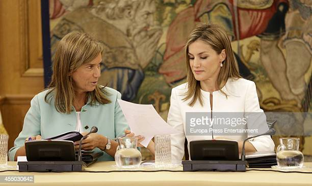 Queen Letizia of Spain and Ana MaAto attend audience at Zarzuela Palace on September 9 2014 in Madrid Spain