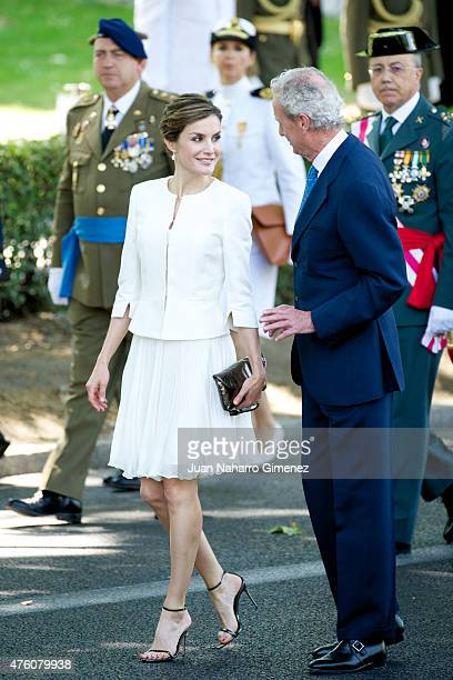 Queen Letizia of Spain and Defense Minister Pedro Morenes attend the 2015 Armed Forces Day at Plaza de la Lealtad on June 6 2015 in Madrid Spain