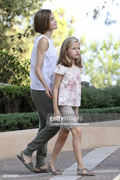 Queen Letizia of Spain and her daugther Princess Leonor of Spain pose for the photographers at the Marivent Palace on August 3 2015 in Palma de...