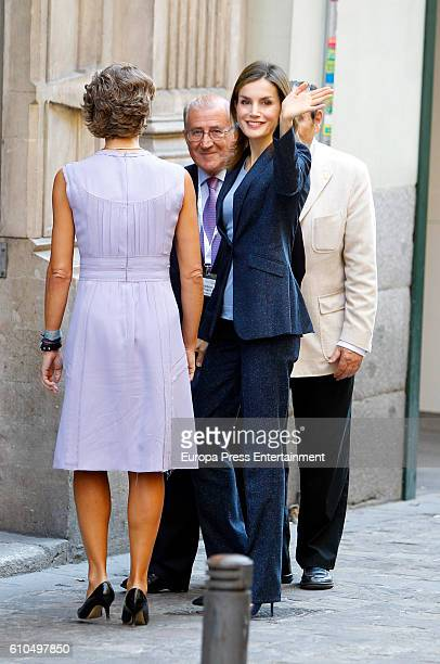 Queen Letizia of Spain and Isabel Garcia Tejerina are seen arriving at '2016 Save Food Congress' at Ateneo on September 26 2016 in Madrid Spain