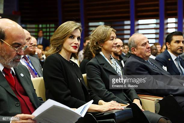 Queen Letizia of Spain and Isabel Garcia Tejerina attend the International Symposium Sustainable Food Systems In Favor Of Healthy Diets And The...