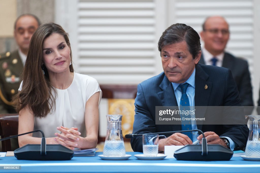 Queen Letizia of Spain and Javier Fernandez attend the meeting with members of Princess of Asturias Foundation at El Pardo palace on June 16, 2017 in Madrid, Spain.