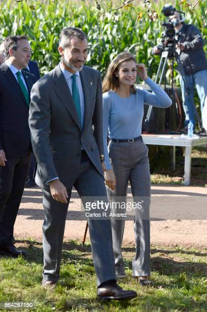 Queen Letizia of Spain and King Felipe of Spain visit Porenu village on October 21 2017 in Villaviciosa Spain Porenu has been honoured as the 2017...