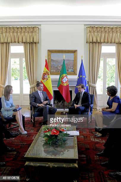 Queen Letizia of Spain and King Felipe VI of Spain and Pedro Passos Coelho and his wife Laura Ferreira at S Bento palace in Lisbon on July 7 2014 in...