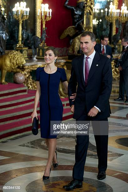 Queen Letizia of Spain and King Felipe VI of Spain attend Spain's National Day royal reception at Royal Palace in Madrid on October 12 2015 in Madrid...