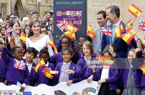 Queen Letizia of Spain and King Felipe VI of Spain meet school children as she visits the Weston Library at Oxford University on the final day of the...