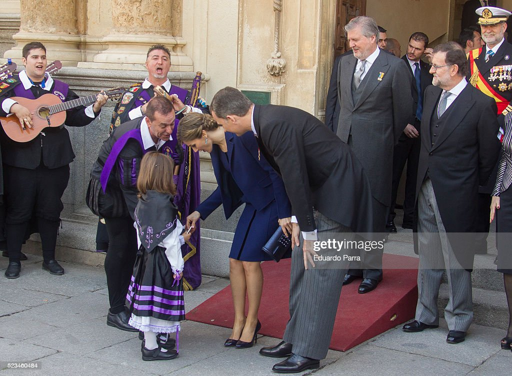 Queen Letizia of Spain and King Felipe VI of Spain pose for photographers at the University of Alcala de Henares for the Cervantes Prize award ceremony on April 23, 2016 in Alcala de Henares, Spain.