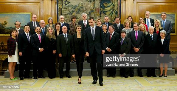 Queen Letizia of Spain and King Felipe VI of Spain receive an audience a representation of the attendees the 'I International Symposium on Cancers of...