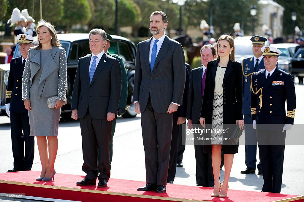 Queen Letizia of Spain and King Felipe VI of Spain receive the President of Colombia <a gi-track='captionPersonalityLinkClicked' href=/galleries/search?phrase=Juan+Manuel+Santos&family=editorial&specificpeople=974752 ng-click='$event.stopPropagation()'>Juan Manuel Santos</a> and Maria Clemencia Rodriguez de Santos at El Pardo Royal Palace on March 1, 2015 in Madrid, Spain.