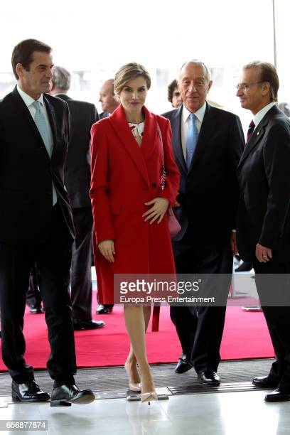 Queen Letizia of Spain and Marcelo Rebelo de Sousa attend European Conference 'Tabajo O Salud' against Cancer at Sheraton Porto Hotel on March 23...