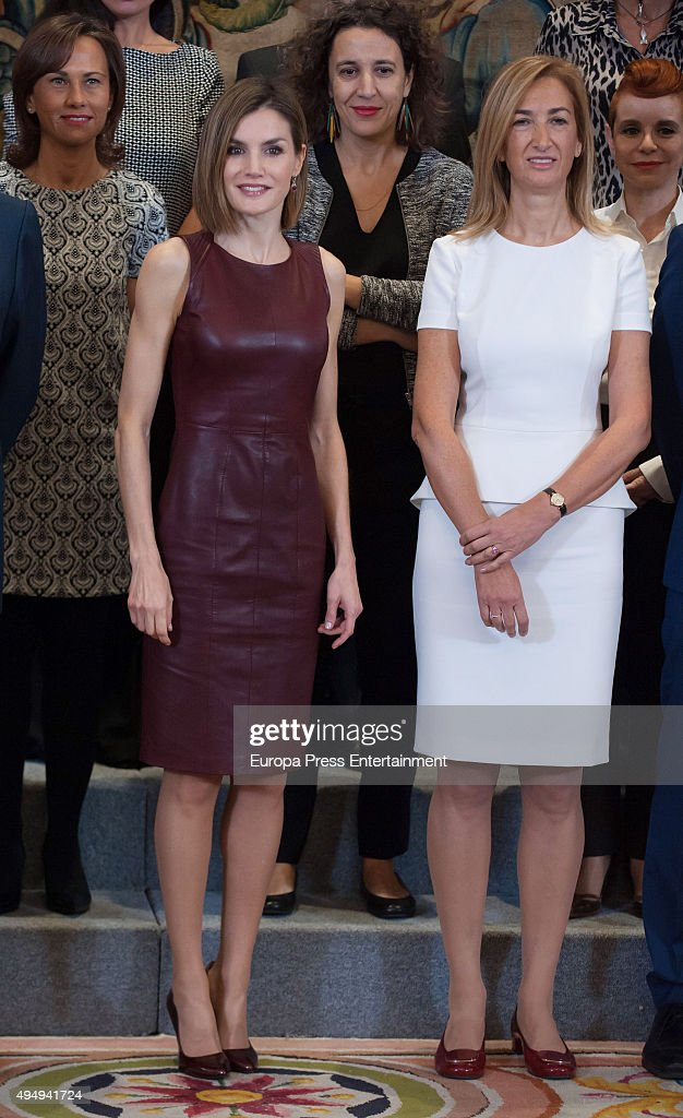 Queen Letizia of Spain (L) and Marta Michel (R) attend audiences at Zarzuela Palace on October 30, 2015 in Madrid, Spain.
