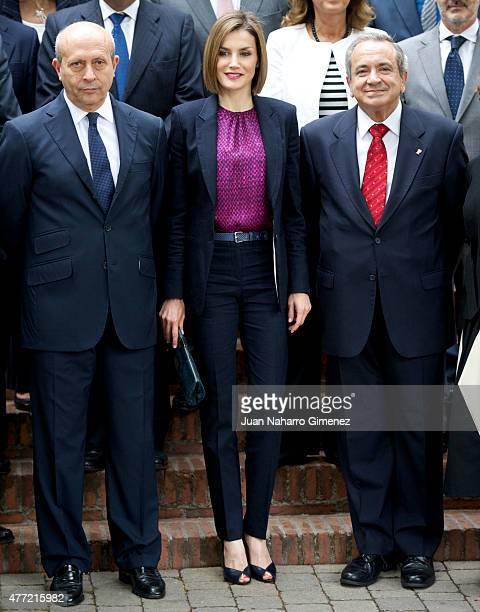 Queen Letizia of Spain and Minister of Education Culture and Sports Jose Ignacio Wert attend a meeting with the Patronato of the Student Residence...