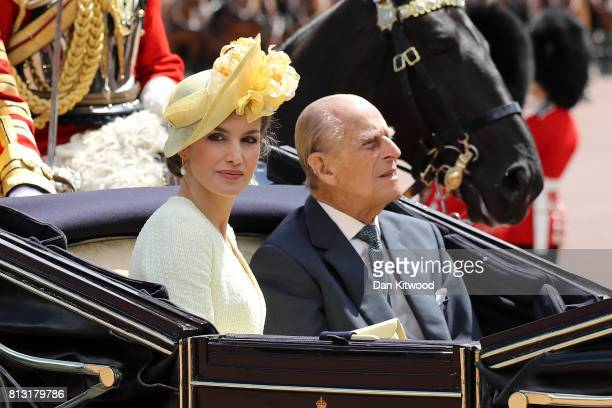 Queen Letizia of Spain and Prince Philip Duke of Edinburgh ride in a carriage during a State visit by the King and Queen of Spain at Centre Gate...