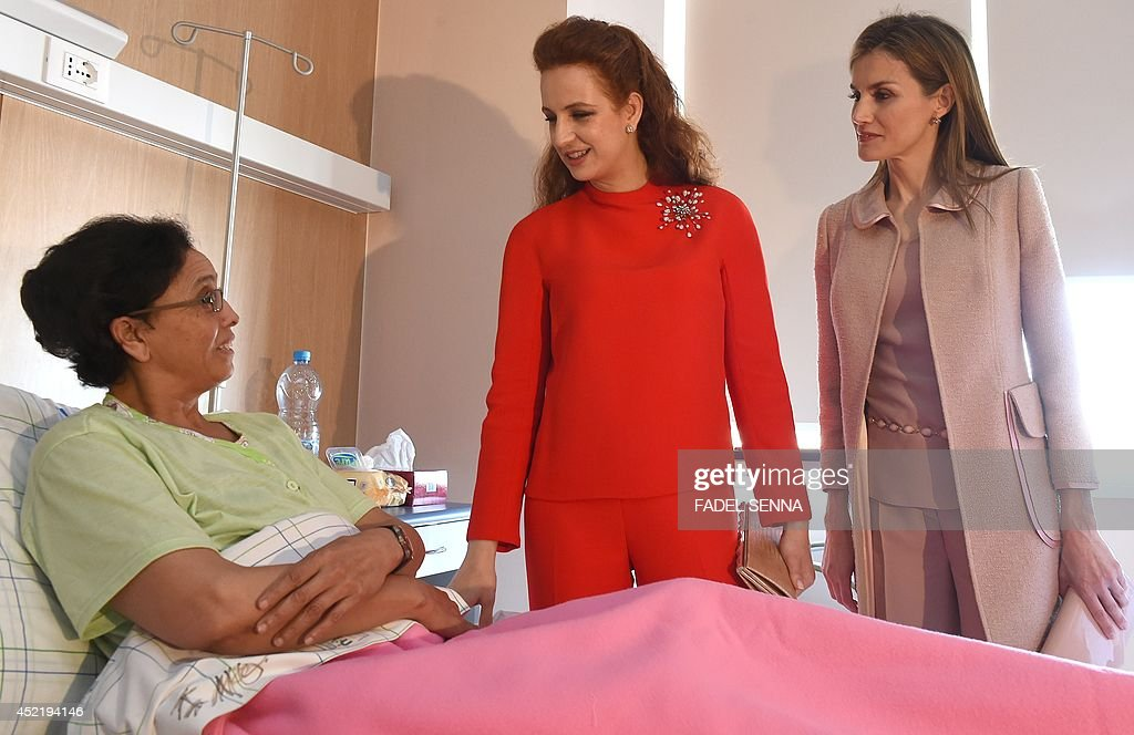 Queen Letizia of Spain and Princess Lalla Salma of Morocco visit the Lalla Salma Centre for Research Against Cancer in Rabat on July 15 2014 The new...