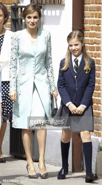 Queen Letizia of Spain and Princess Leonor attend the First Communion of Princess Sofia at the Asuncion de Nuestra Senora on May 17 2017 in Madrid...