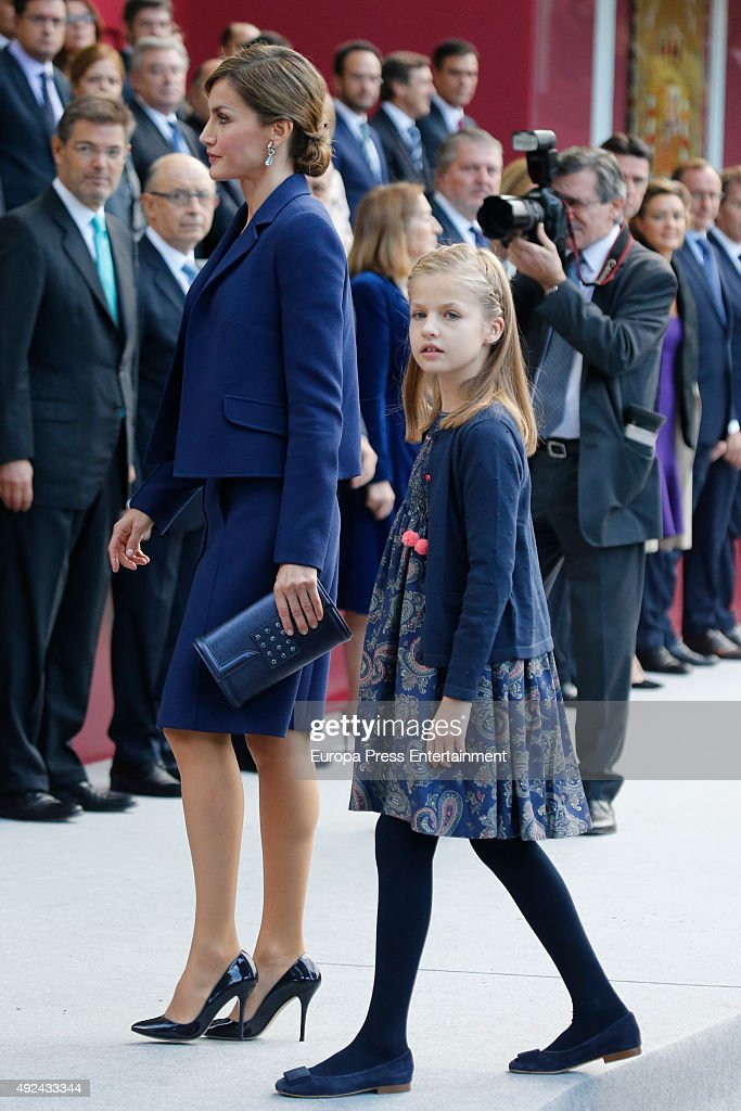 Queen Letizia of Spain and Princess Leonor attend the National Day Military Parade 2015 on October 12, 2015 in Madrid, Spain.