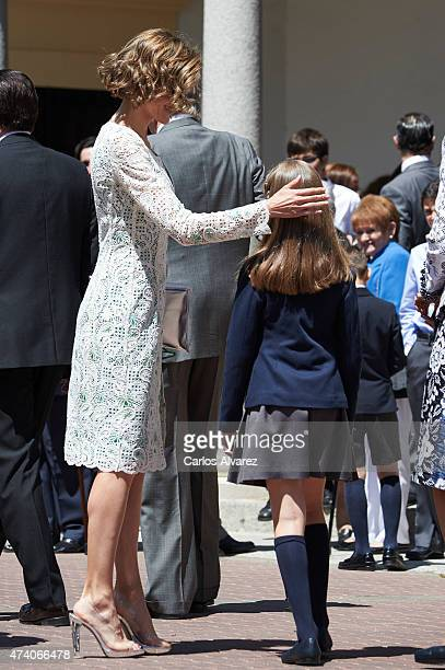 Queen Letizia of Spain and Princess Leonor of Spain leave the Asuncion de Nuestra Senora Church after the First Communion of Princess Leonor of Spain...