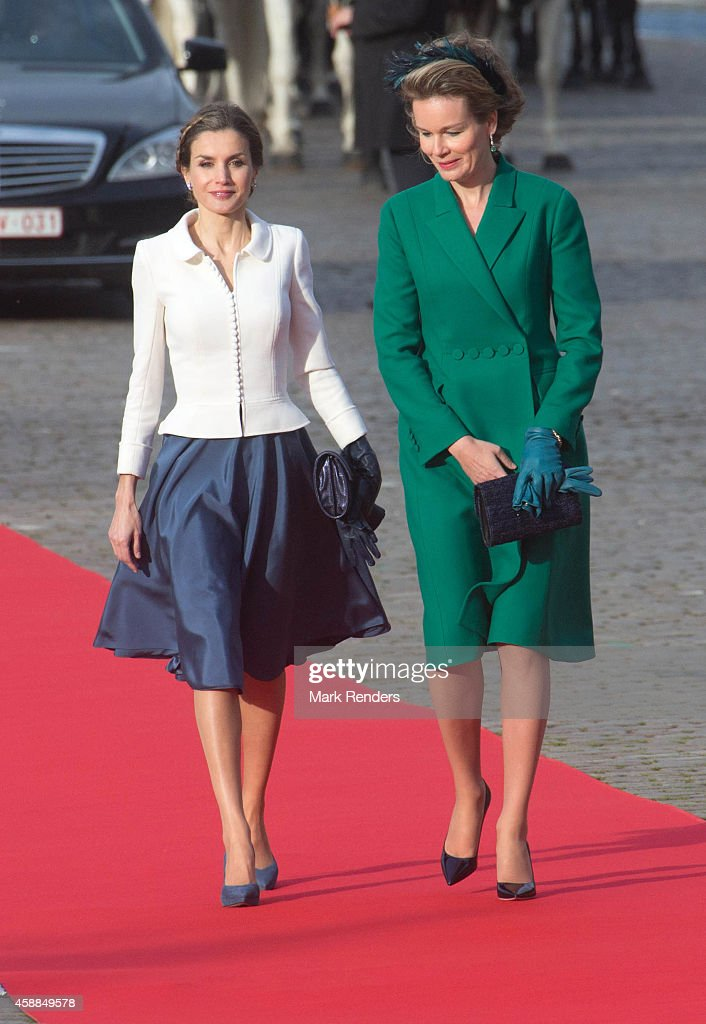 Queen Letizia of Spain and Queen Mathilde of Belgium during a Spanish State visit at the Royal Palace on November 12 2014 in Brussel Belgium