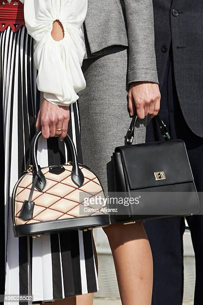 Queen Letizia of Spain and Queen Rania Abdullah of Jordan bags detail visit the Molecular Biology Center 'Severo Ochoa' at the Autonoma University on...