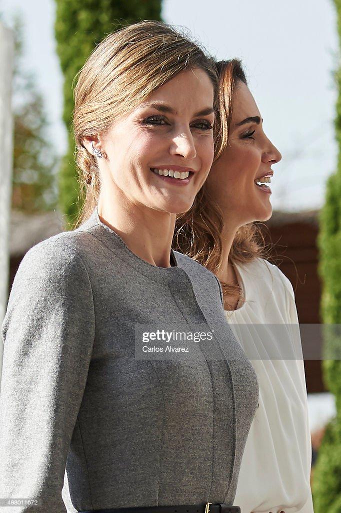 Queen Letizia of Spain and Queen Rania Abdullah of Jordan visit the Molecular Biology Center 'Severo Ochoa' at the Autonoma University on November 20...