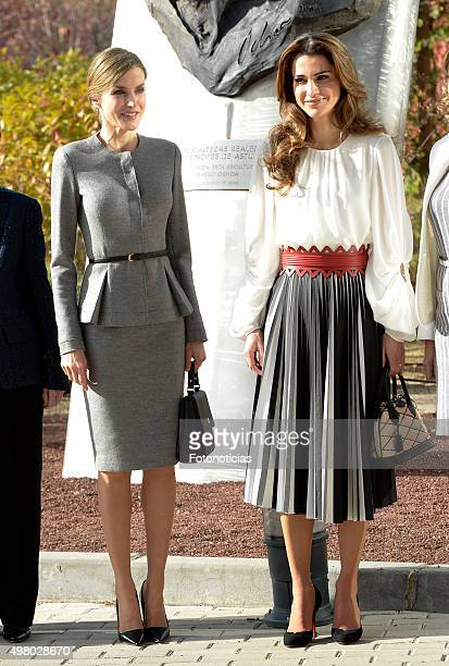 Queen Letizia of Spain and Queen Rania of Jordan visit the 'Severo Ochoa' Molecular Biology Centre at the Universidad Autonoma on November 20 2015 in...