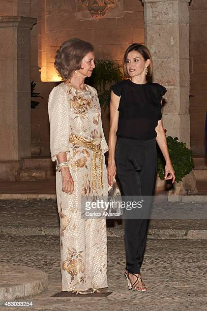 Queen Letizia of Spain and Queen Sofia attend a official reception at the Almudaina Palace on August 5 2015 in Palma de Mallorca Spain