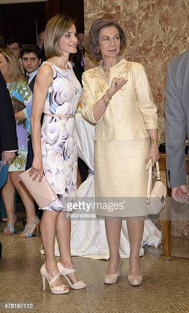 Queen Letizia of Spain and Queen Sofia attend the 2015 UNICEF Awards Ceremony at the CSIC on June 23 2015 in Madrid Spain