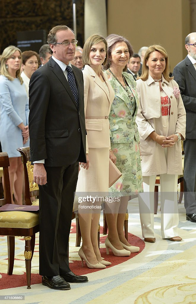 Queen Letizia of Spain (2nd L) and Queen Sofia (2nd R) attend the Reina Sofia 2014 Awards Ceremony at El Pardo Palace on April 29, 2015 in Madrid, Spain.