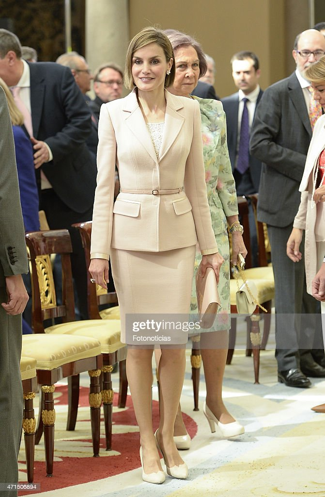 Queen Letizia of Spain and Queen Sofia attend the Reina Sofia 2014 Awards Ceremony at El Pardo Palace on April 29, 2015 in Madrid, Spain.