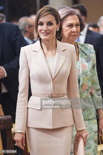 Queen Letizia of Spain and Queen Sofia attend the 'Royal Trust Disability Reina Sofia 2014 Awards' at the El Pardo Palace on April 29 2015 in Madrid...