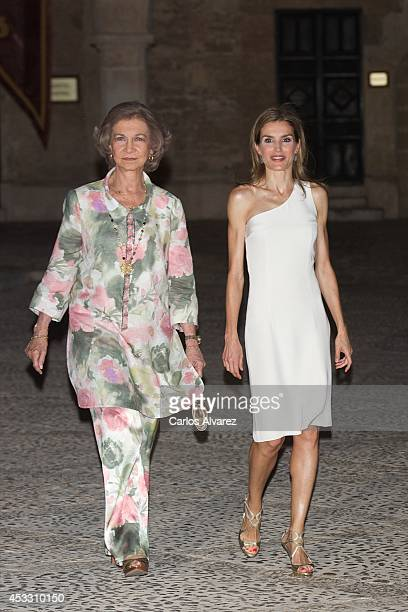 Queen Letizia of Spain and Queen Sofia of Spain attend a official reception at the Almudaina Palace on August 7 2014 in Palma de Mallorca Spain