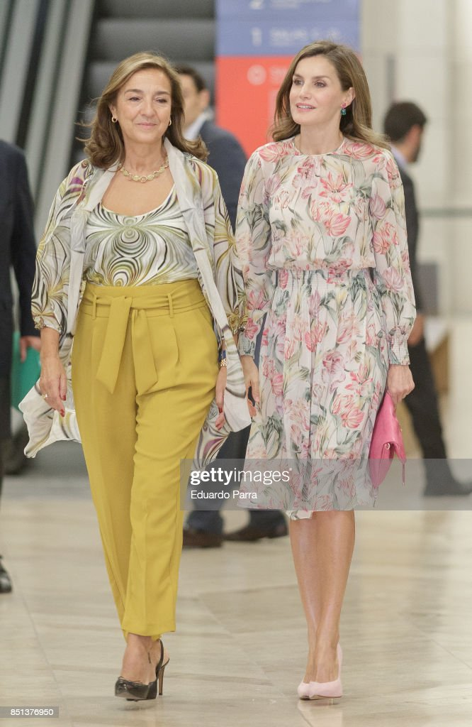 Queen Letizia of Spain (R) and Secretary of State for Research, Development and Innovation Carmen Vela attend the 'Cancer Research World Day' event at El Padro museum on September 22, 2017 in Madrid, Spain.