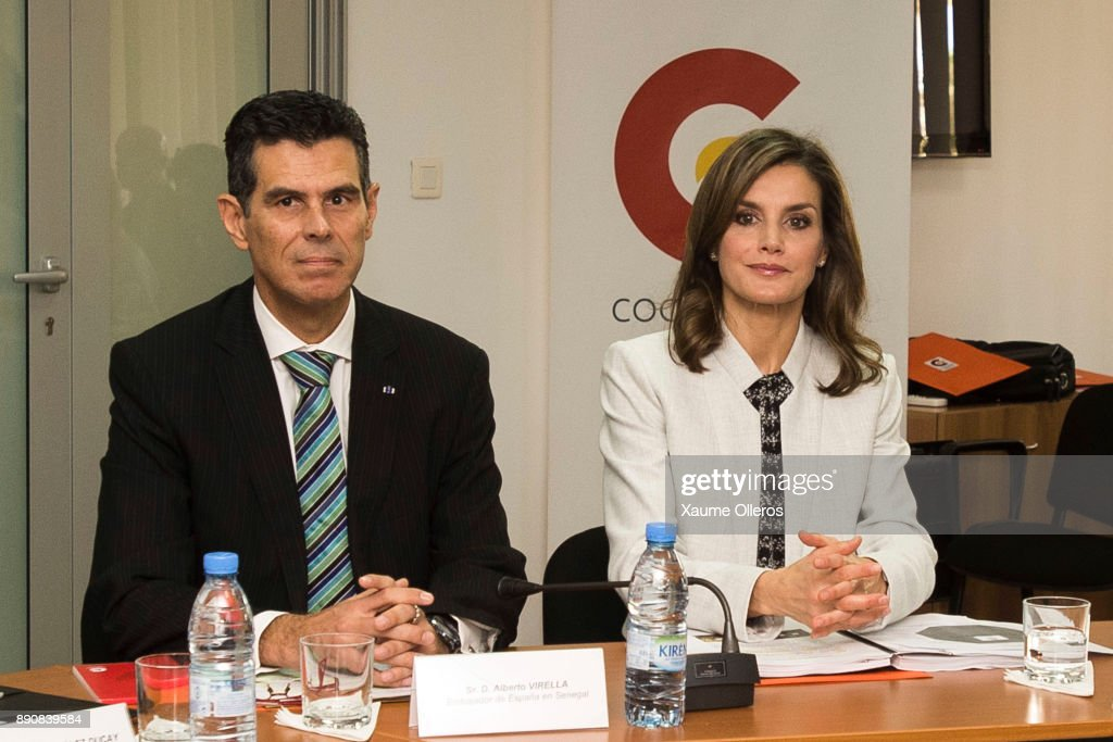 Queen Letizia of Spain and Spanish ambassador to Senegal Alberto Virella attend a meeting at the the Spanish Cooperation Agency on December 12, 2017 in Dakar, Senegal. Queen Letizia of Spain is on a four -day visit to the west African country to support the Spanish cooperation projects.