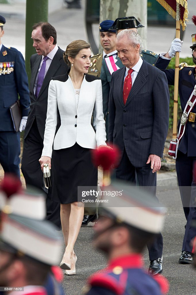 Queen Letizia of Spain and Spanish Defense Minister Pedro Morenes attend the Armed Forces Day Hommage on May 28, 2016 in Madrid, Spain.