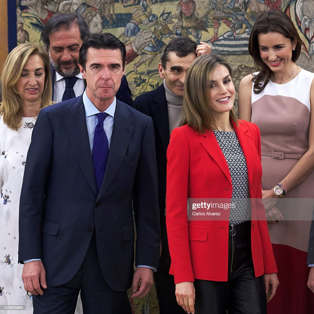 Queen Letizia of Spain and Spanish Minister of Development and Industry Jose Manuel Soria attend several audiences at Zarzuela Palace on April 13, 2016 in Madrid, Spain.