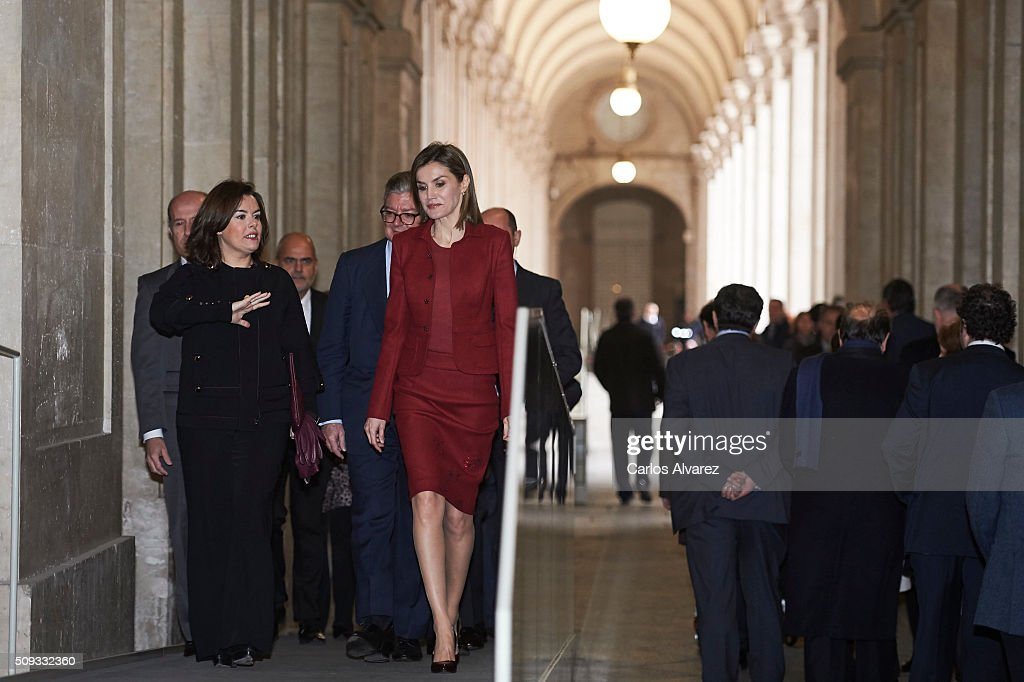 Queen <a gi-track='captionPersonalityLinkClicked' href=/galleries/search?phrase=Letizia+of+Spain&family=editorial&specificpeople=158373 ng-click='$event.stopPropagation()'>Letizia of Spain</a> (R) and Spanish Vice President <a gi-track='captionPersonalityLinkClicked' href=/galleries/search?phrase=Soraya+Saenz+de+Santamaria&family=editorial&specificpeople=5131705 ng-click='$event.stopPropagation()'>Soraya Saenz de Santamaria</a> (L) visit the Royal Palace on February 10, 2016 in Madrid, Spain.